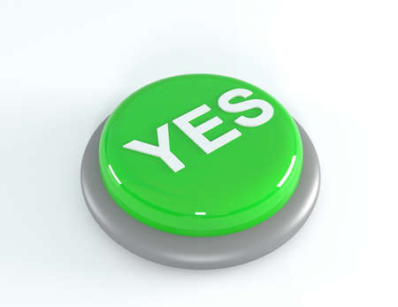 yes button: Green YES button, 3d illustration