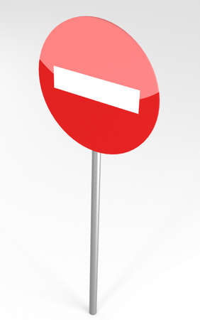 entrance is forbidden: No Entry Traffic Sign, 3d illustration Stock Photo