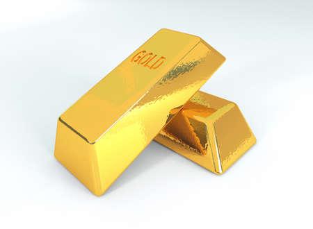 reserves: Golden bars, 3d illustration