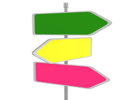 three points: Three arrow signs representing multiple opportunities, 3d illustration Stock Photo