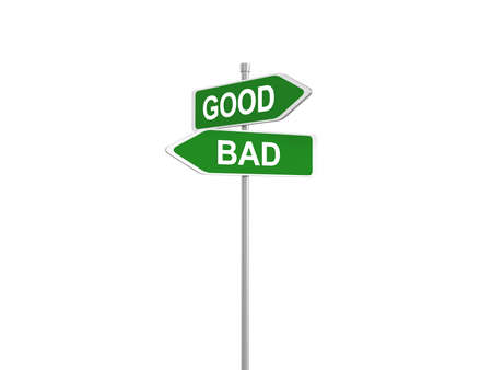 right vs wrong: Two road signs - good or bad choice, 3d illustration