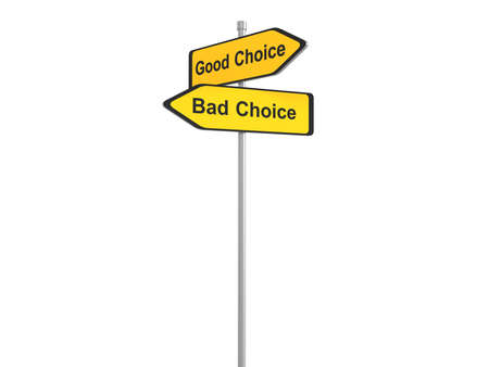 right vs wrong: Good chioce bad choice traffic sign, 3d illustration Stock Photo