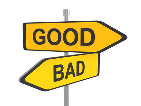 Two road signs - good or bad choice, 3d illustration