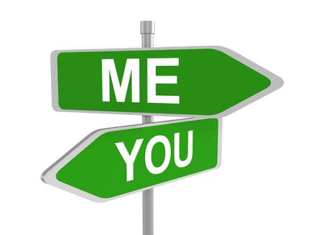 Ik en jij groene borden wijzen in verschillende richtingen, 3d illustratie