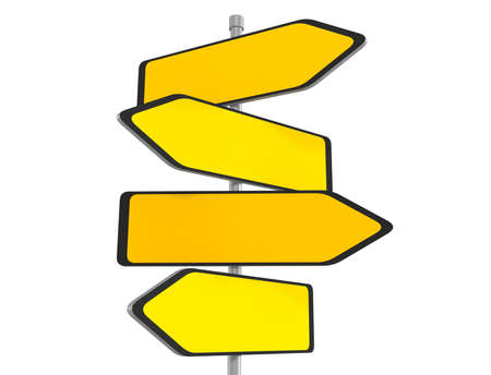 Blank road signs pointing in the different directions, 3d illustration