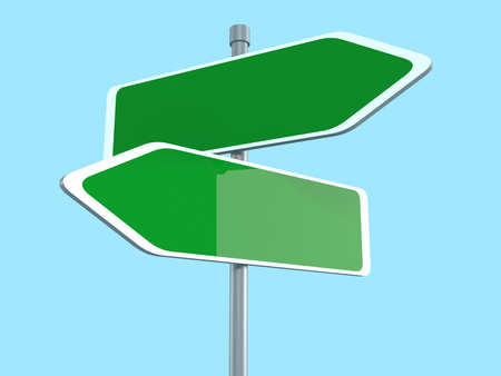 passing the road: Two blank road signs pointing in the different directions, 3d illustration