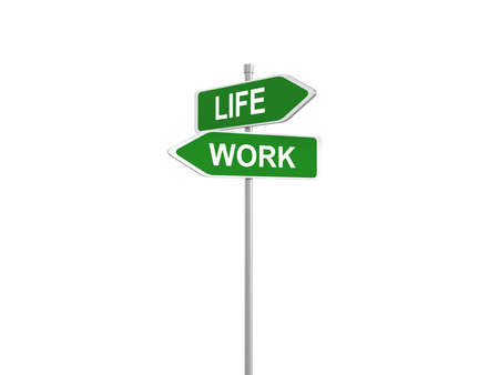 Two green road signs, life or work choice, 3d illustration 写真素材