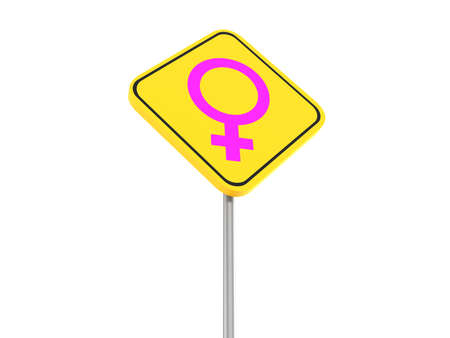 sex traffic: female symbol traffic sign, 3d illustration Stock Photo