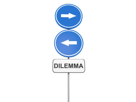 dilemma: Depicting a directional roadsign with a dilemma concept, 3d illustration