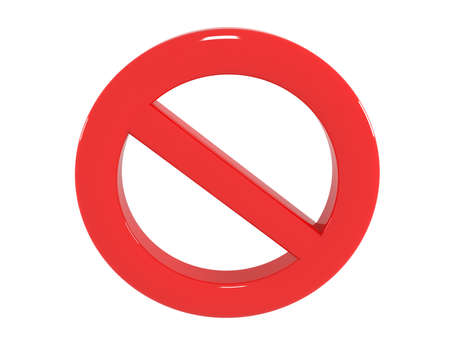 Sign ban, prohibition, No Sign, No symbol, Not Allowed, 3d illustration