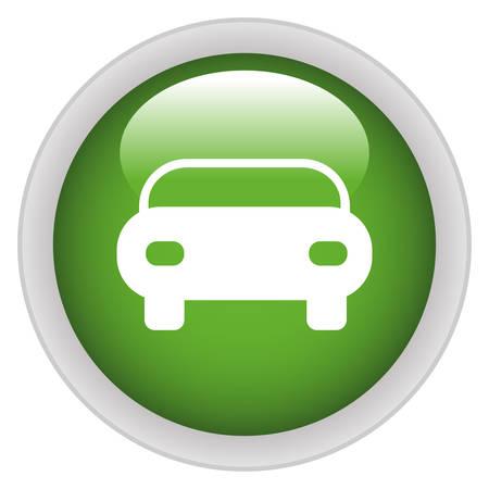 fare: Car icon green glossy round button
