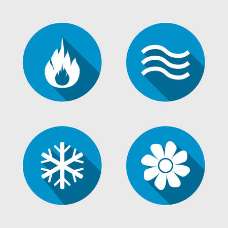 water supply: Heating, ventilating and air conditioning symbols, water supply, climate control technology signs, HVAC icons, vector