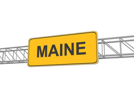 maine: Maine yellow sign board, 3d illustration