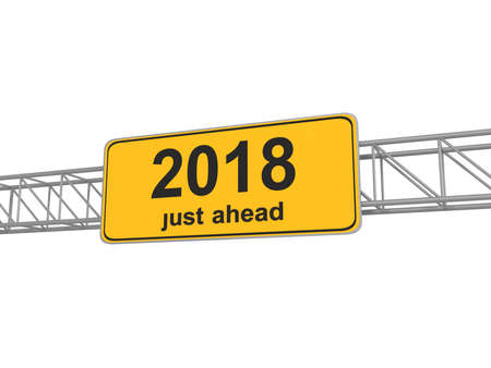 past: Street Sign With 2018 Just Ahead, 3d illustration