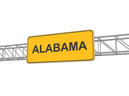 alabama: Alabama yellow sign board, 3d illustration