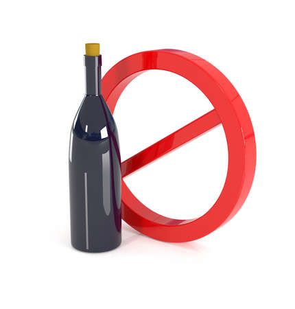 not permitted: No alcohol sign, 3d illustration