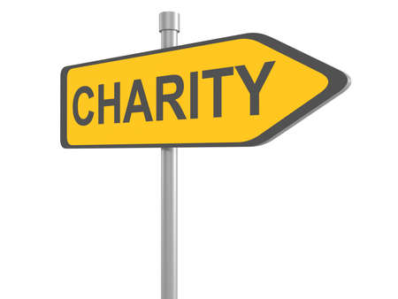 need direction: Charity road sign, 3d illustration