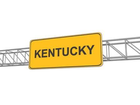 kentucky: Kentucky yellow sign board, 3d illustration