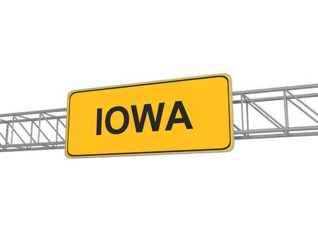 iowa: Iowa yellow sign board, 3d illustration Stock Photo