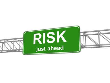 risk ahead: Green Risk Ahead Road Sign, traffic sign, isolated, 3d illustration