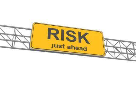 risk ahead: Yellow Risk Ahead Road Sign, traffic sign, isolated, 3d illustration