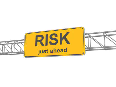 caution: Yellow Risk Ahead Road Sign, traffic sign, isolated, 3d illustration