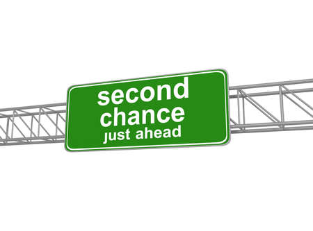 new opportunity: Second chance road sign, 3d illustration