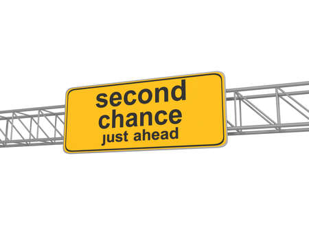 chance: Second chance road sign, 3d illustration