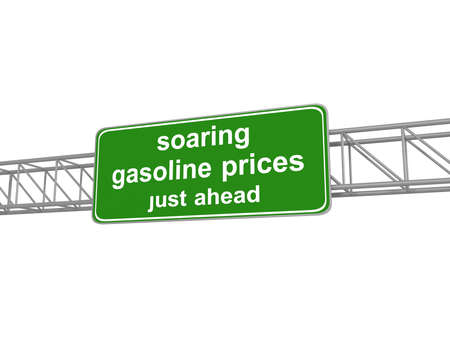 soaring: Green road sign with soaring gasoline prices, 3d illustration