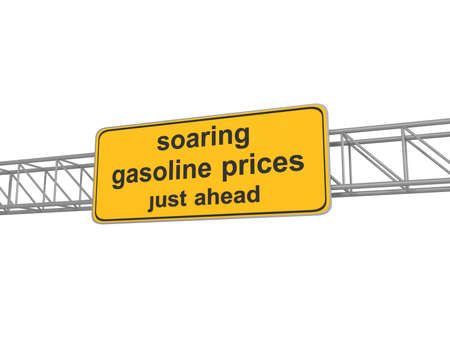 soaring: Yellow road sign with soaring gasoline prices, 3d illustration Stock Photo