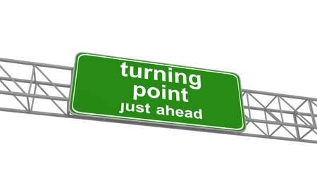 unsure: Turning point on green road sign, 3d illustration