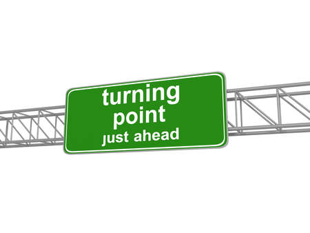 opportunity sign: Turning point on green road sign, 3d illustration