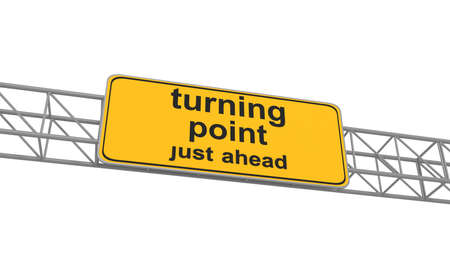 turning point: Turning point on yellow road sign, 3d illustration