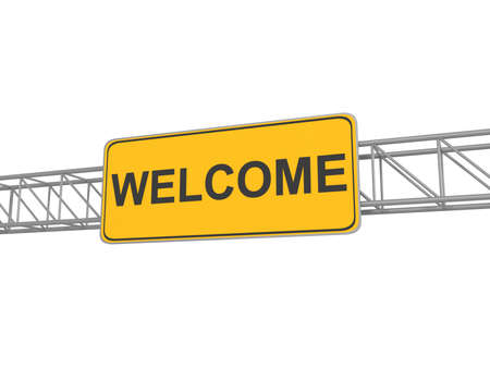 keywords bubble: Welcome road sign, 3d illustration