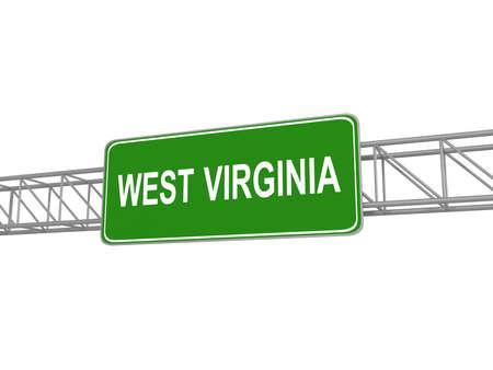 3d virginia: West Virginia green sign board, 3d illustration Stock Photo