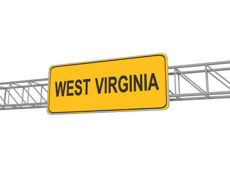 3d virginia: West Virginia yellow sign board, 3d illustration Stock Photo