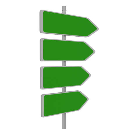 passing the road: Four blank road signs pointing in the same direction, 3d illustration