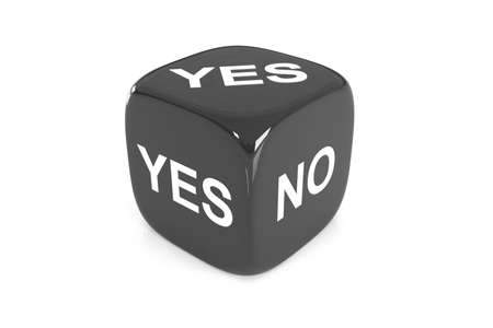 doubtfulness: One single black dice with yes or no english text on faces on white background, 3D Illustration Stock Photo