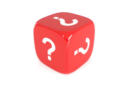 dubious: One single red dice with question mark on every face on white background, 3D Illustration Stock Photo