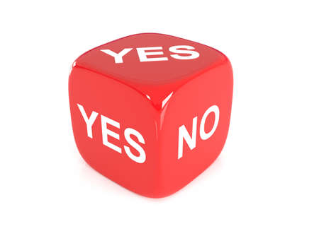 doubtfulness: One single red dice with yes or no english text on faces on white background, 3D Illustration Stock Photo
