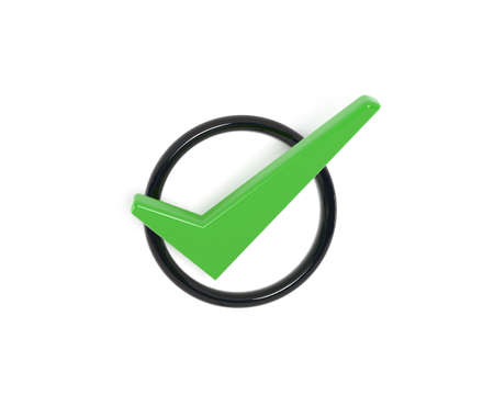 green check mark: The green check mark, 3d illustration