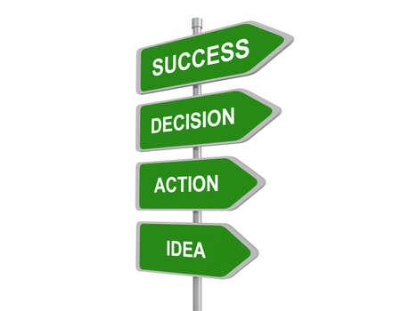 De woorden Idea, Actie, besluit Succes op kleurrijke borden wijzen, concept stappen voor succes, 3d illustratie
