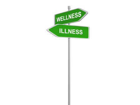 health and wellness: Wellness or illness, good or bad health, road sign, 3d illustration Stock Photo