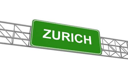 multiple lane highway: Road sign Zurich, 3d illustration
