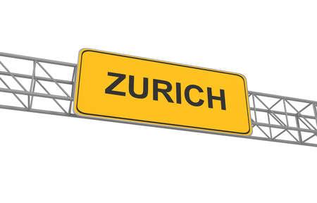 Road sign Zurich, 3d illustration