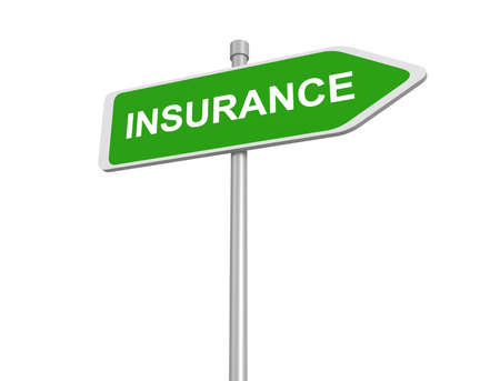 health risks: Insurance road sign, insurance risk management pay premium at broker and collect your claim of health car travel and fire insurances assessment of risks ,3d illustration