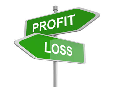 risky: Profit or loss road sign, profit or loss win or loose financial on stock market economy earning or loosing money trough the risk of a risky investment, 3d illustration
