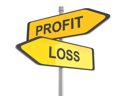 stock market return: Profit or loss road sign, profit or loss win or loose financial on stock market economy earning or loosing money trough the risk of a risky investment, 3d illustration