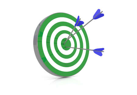 challange: Green target with 3 arrows in the bullseye, 3d illustration