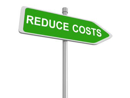 economic recession: Reduce cost road sign, budget cuts reduce costs and cut spending during crisis or economic recession, 3d illustration